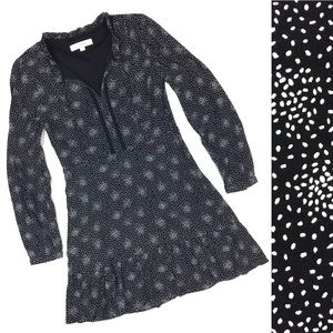 Loft Black & White Polka Dot Ruffle Hem Dress